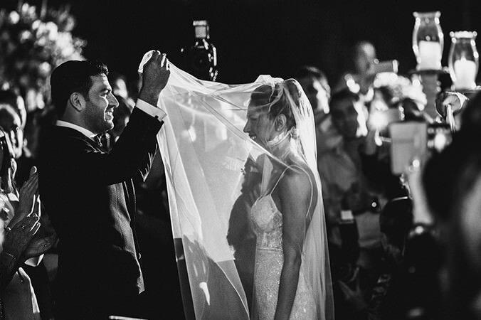 Bride and groom jewish ceremony