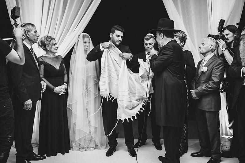 Black and white jewish wedding