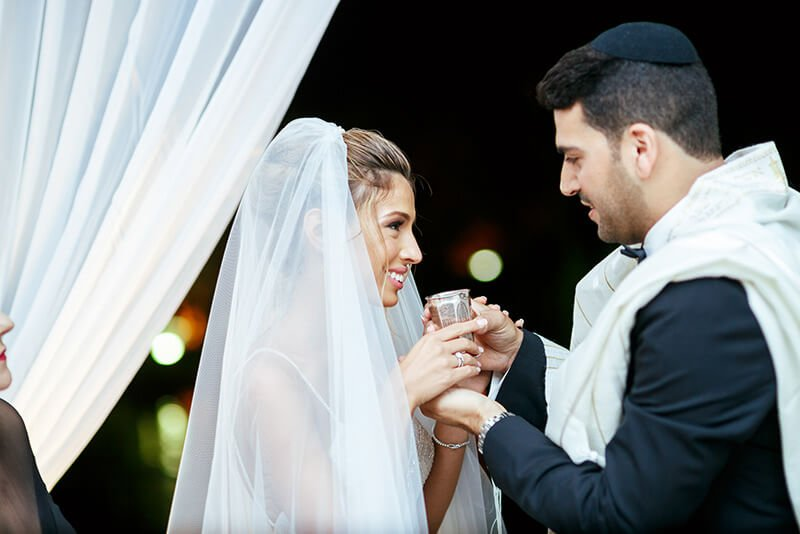 Bride and groom jewish wedding